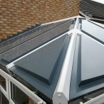 conservatory roof colours showing grey roof with white frames